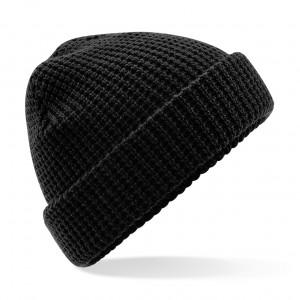 Classic Waffle Knit Beanie - B422 - Black