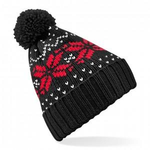 Czapka Fair Isle Snowstar - B456 - Black/Classic Red